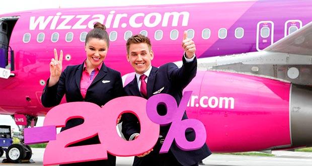 Скидка 20% у Wizz Air! Например, из СПб и МСК в Лондон за 2300₽/3800₽ туда-обратно в октябре