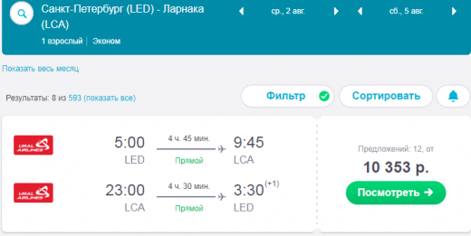 Билеты на самолет санкт петербург ларнака